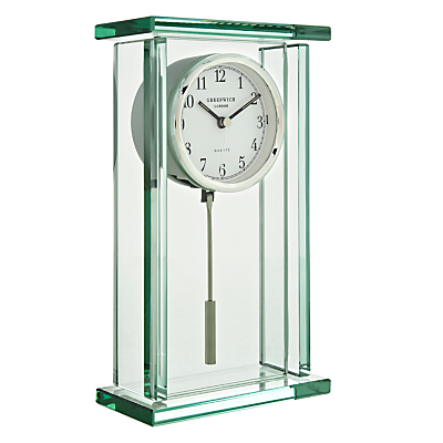 John Lewis Theia Pendulum Glass Mantel Clock, Clear