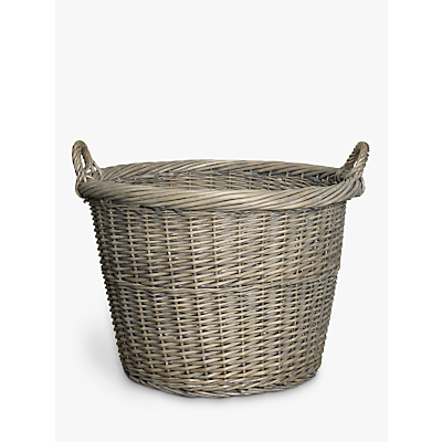 John Lewis & Partners Wicker Log Basket, Grey