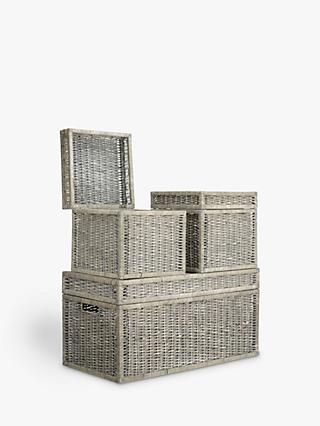 John Lewis & Partners Wicker Trunks, Set of 3, Grey