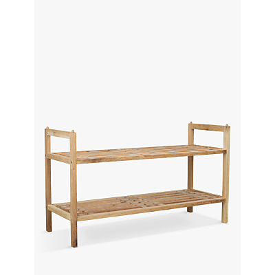 Wenko Norway 2 Tier Stackable Walnut Wood Shoe Rack