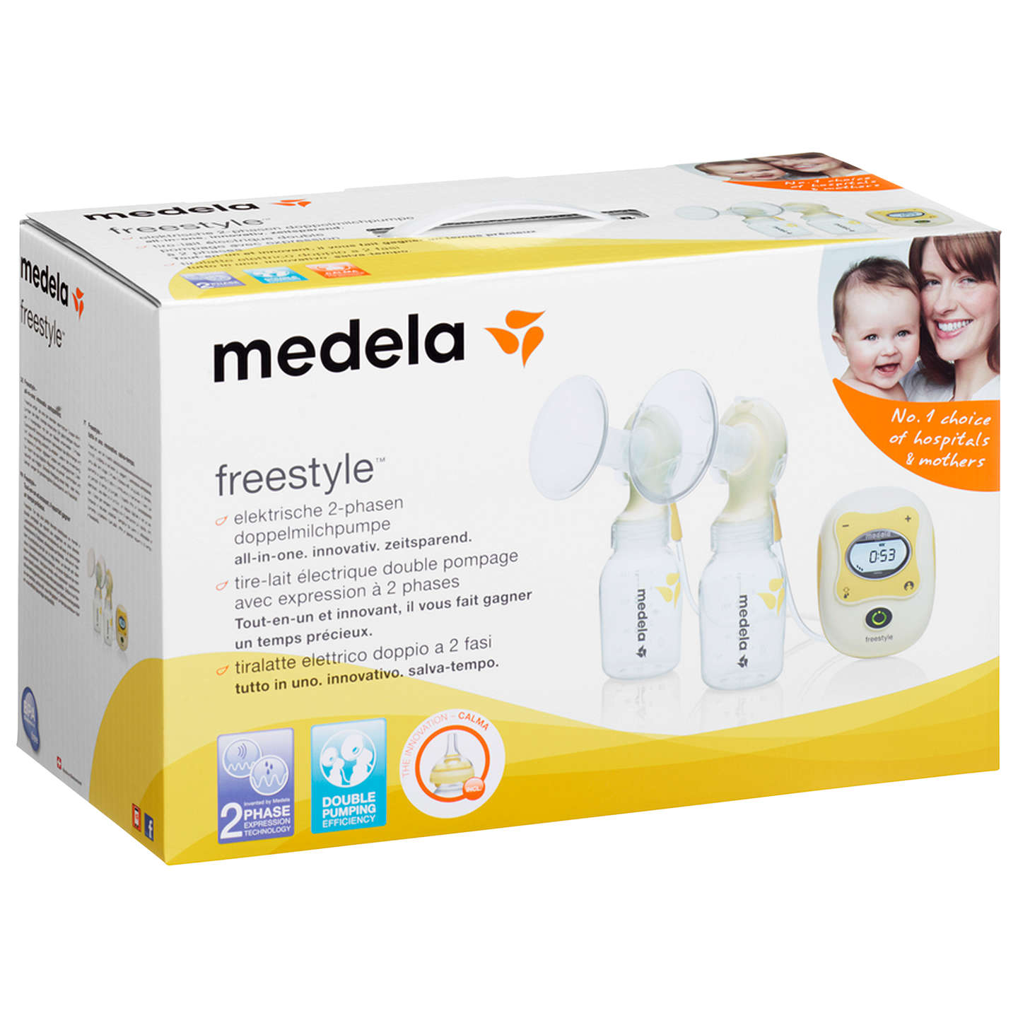 BuyMedela Freestyle Double Breast Pump with Calma Teat Online at johnlewis.com