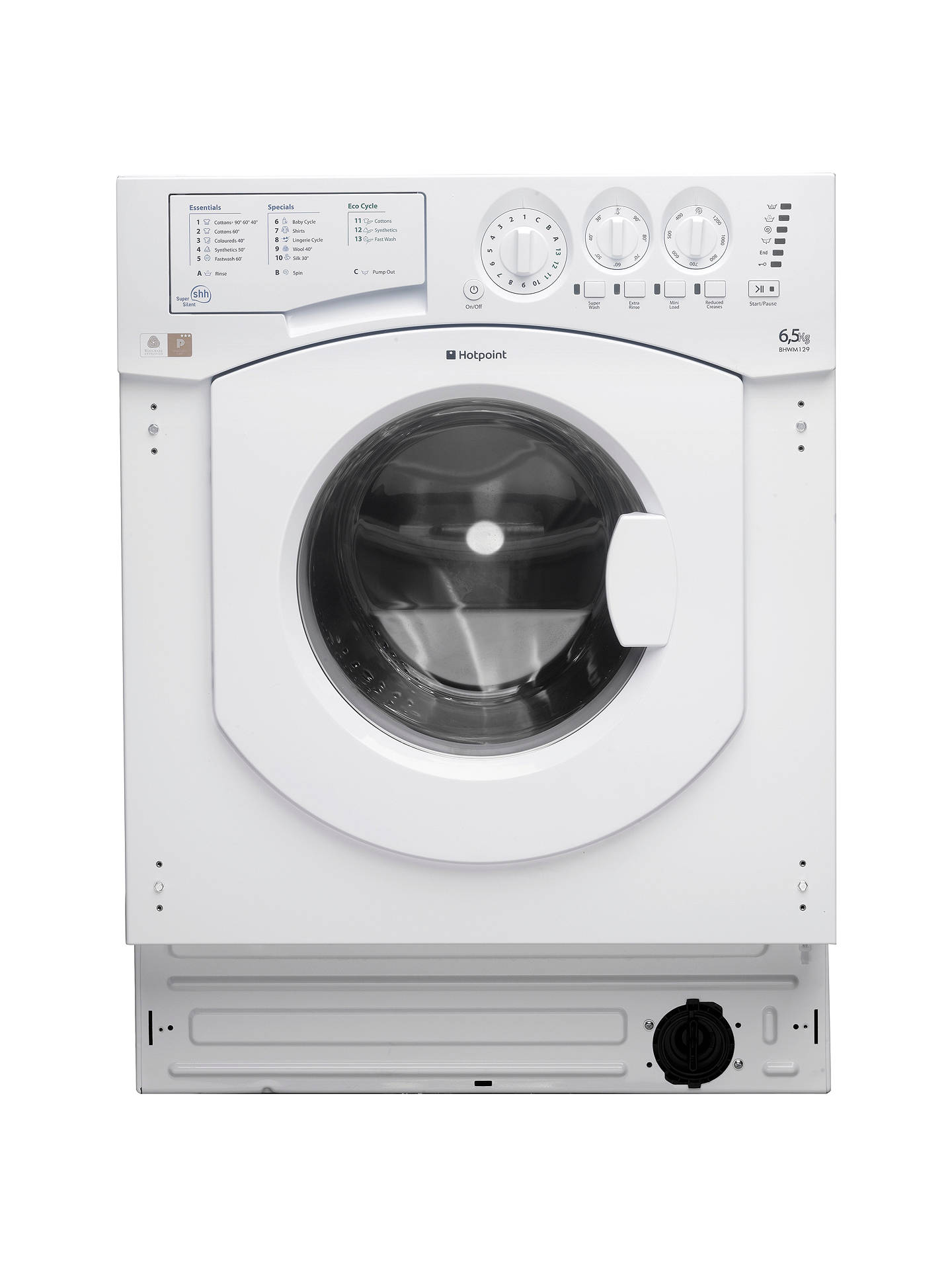BuyHotpoint BHWM129 Integrated Washing Machine, 7kg Load, A++ Energy  Rating, 1200rpm Spin, ...
