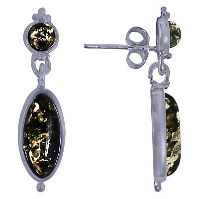 Goldmajor Amber Drop Earrings SilverGreen