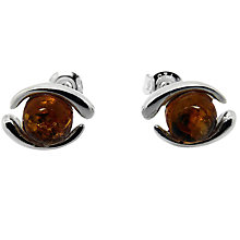Buy Goldmajor Sterling Silver Amber Stud Earrings, Silver/Brown Online at johnlewis.com