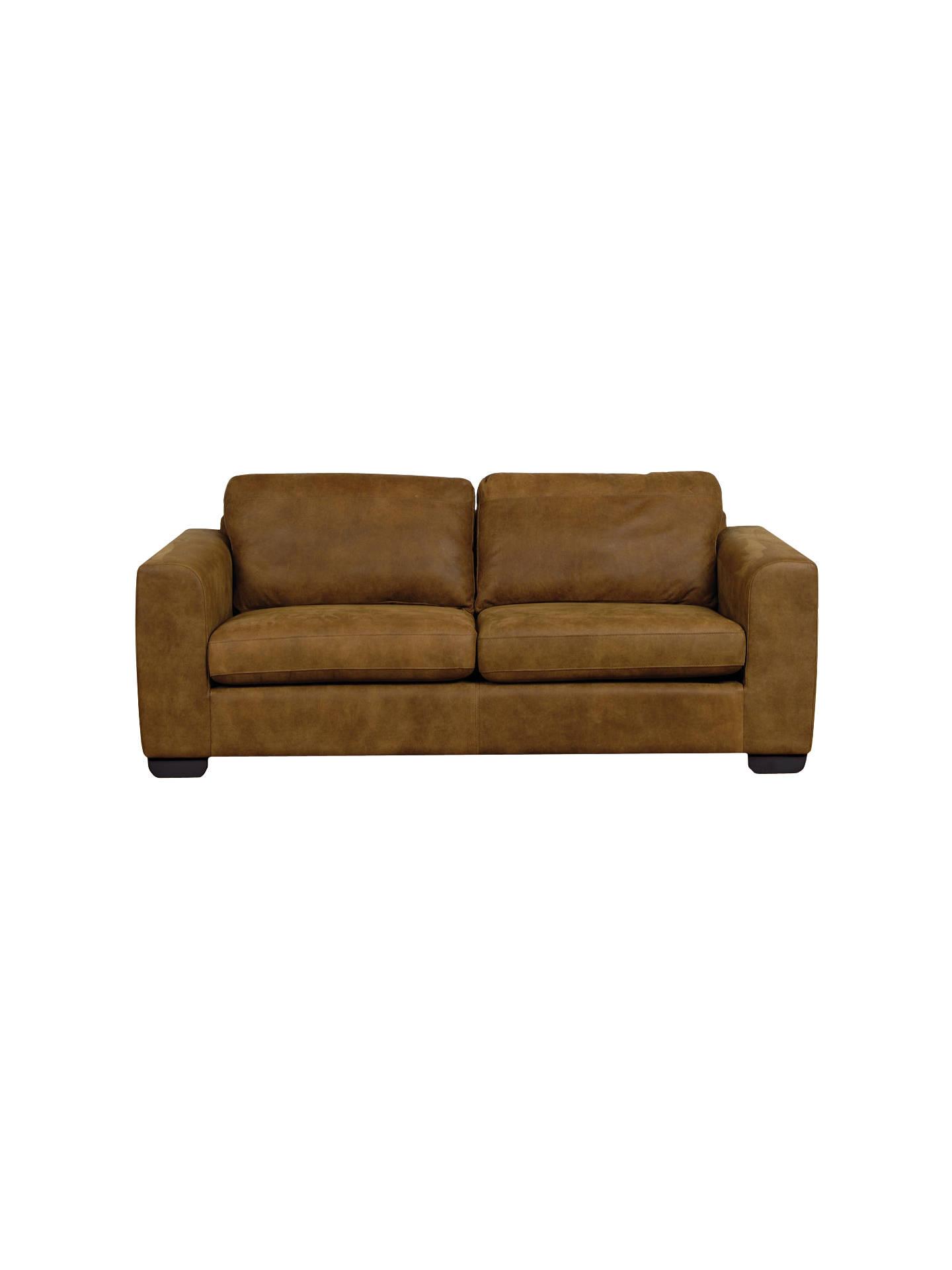 John Lewis Felix Large Semi Aniline Leather Sofa Ashanti Brown Online At Johnlewis