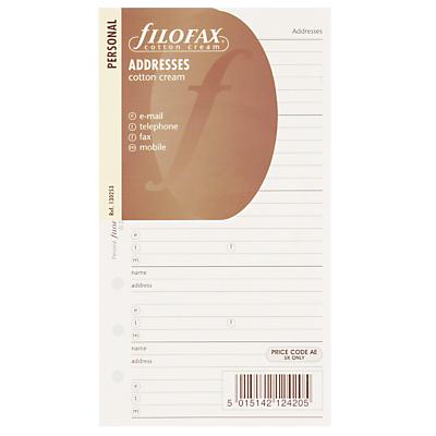 Filofax Personal Inserts, Address / Telephone / Email