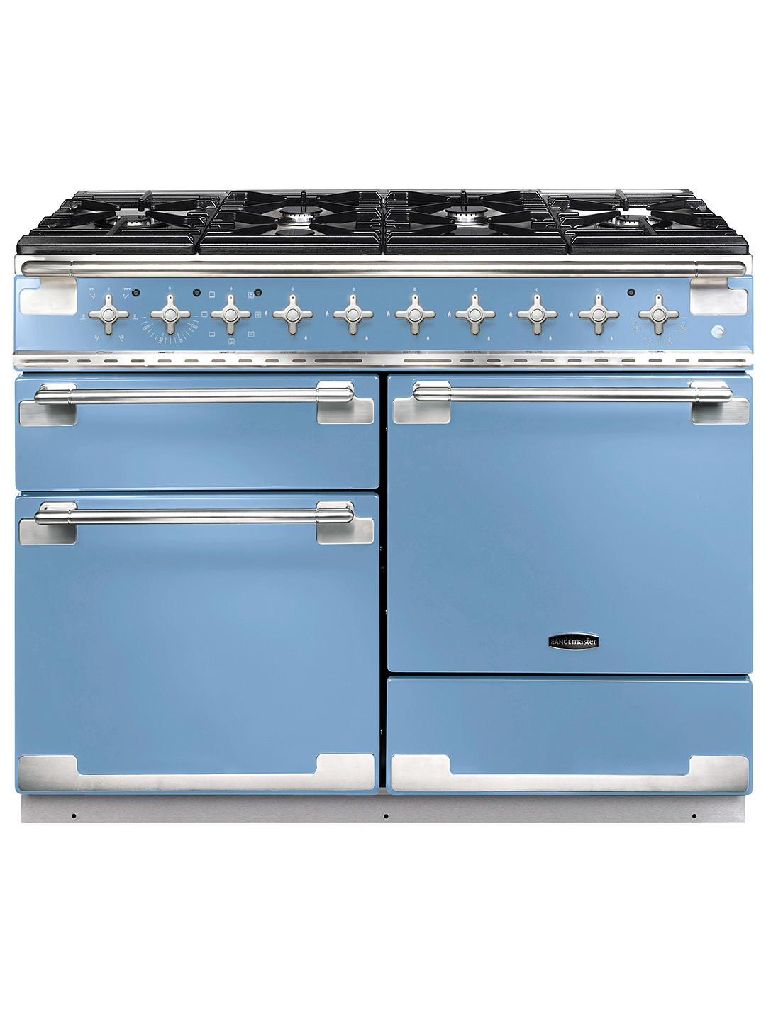 Buy Rangemaster Elise 110 Dual Fuel Range Cooker, China Blue/Brushed Chrome Trim Online at johnlewis.com