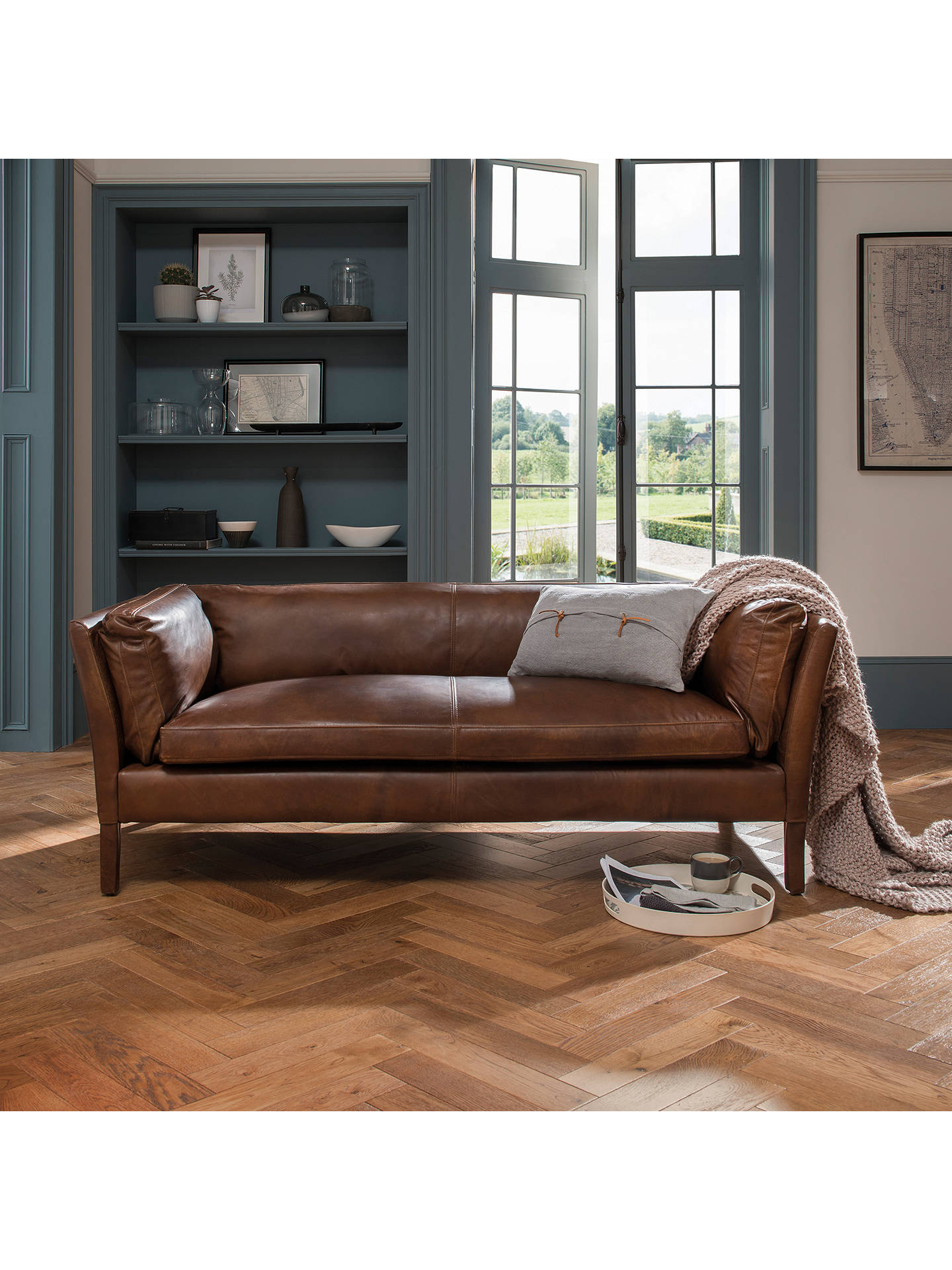 Buy Halo Groucho Medium 2 Seater Leather Sofa, Riders Nut Online at johnlewis.com