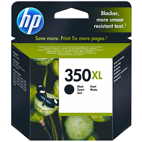 Buy HP 350XL Inkjet Cartridge, Black, CB336EE Online at johnlewis.com