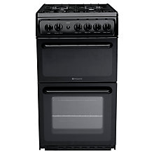 Buy Hotpoint HAG51K Gas Cooker, Black Online at johnlewis.com