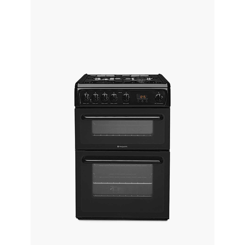 hotpoint hag60k gas cooker black at john lewis. Black Bedroom Furniture Sets. Home Design Ideas