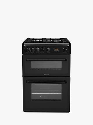 Hotpoint Newstyle HAG60K Gas Cooker, Onyx Black