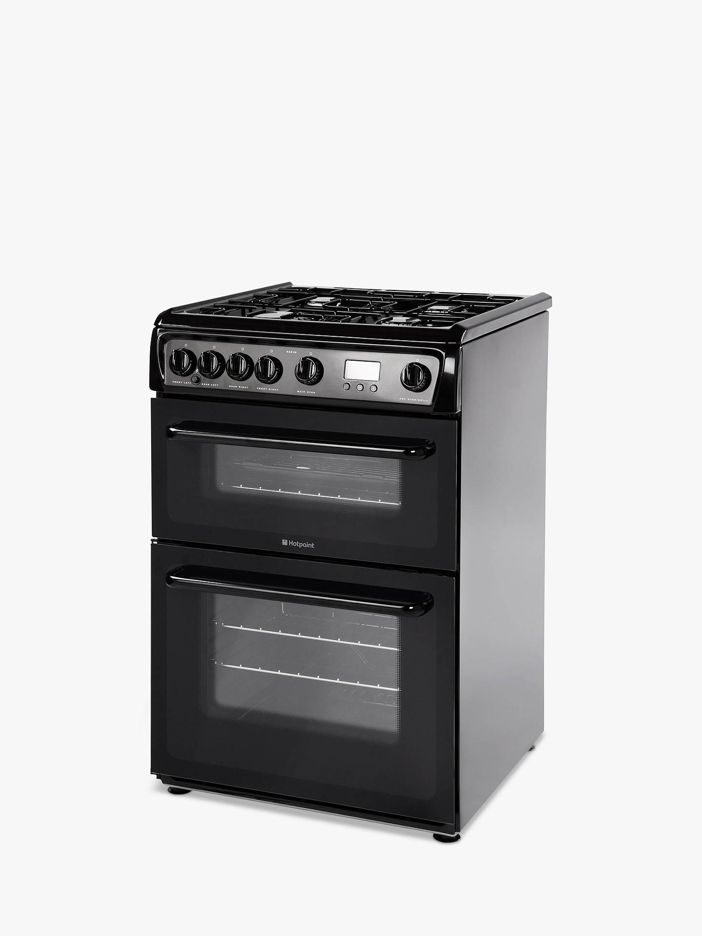 hotpoint newstyle hag60k gas cooker onyx black at john. Black Bedroom Furniture Sets. Home Design Ideas