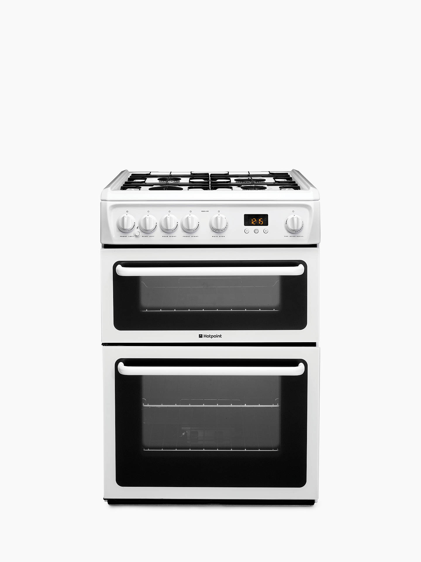 hotpoint hag60p gas cooker white at john lewis partners. Black Bedroom Furniture Sets. Home Design Ideas