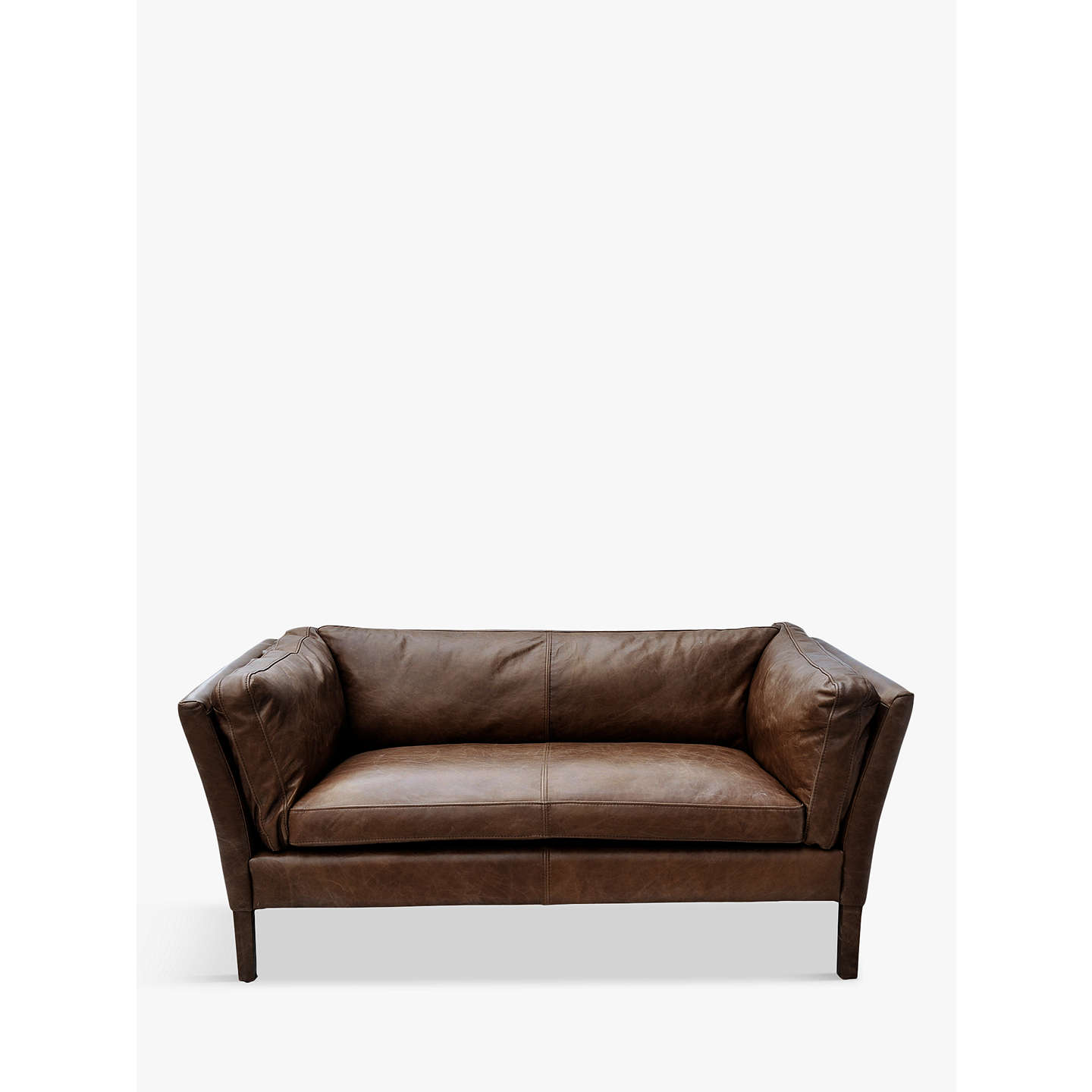 Halo Groucho Small Aniline Leather Sofa Riders Cocoa Online At Johnlewis
