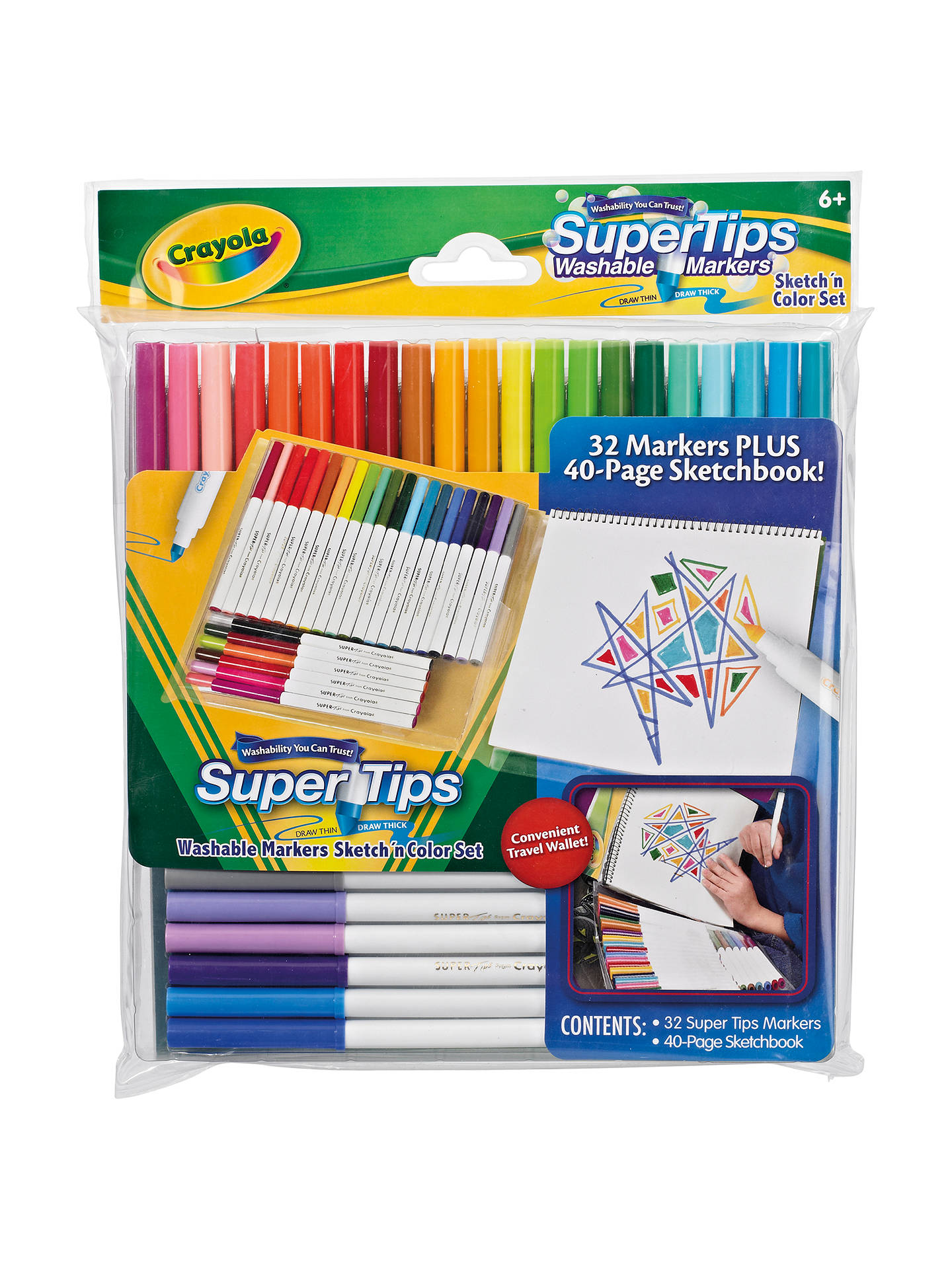 Crayola Super Tips Markers and Sketchbook at John Lewis