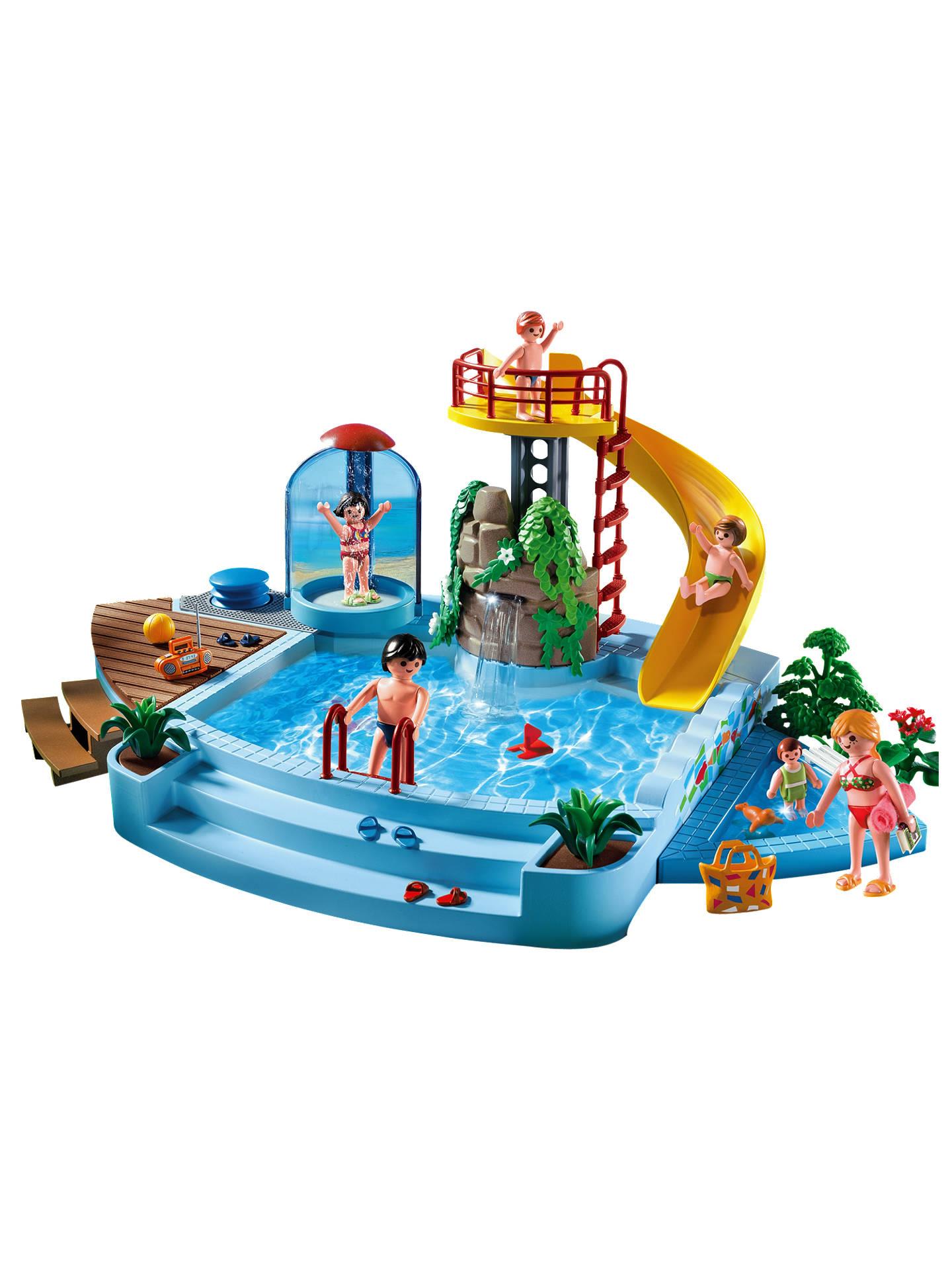 Playmobil summer fun pool and water slide at john lewis - Playmobil swimming pool with waterslide ...