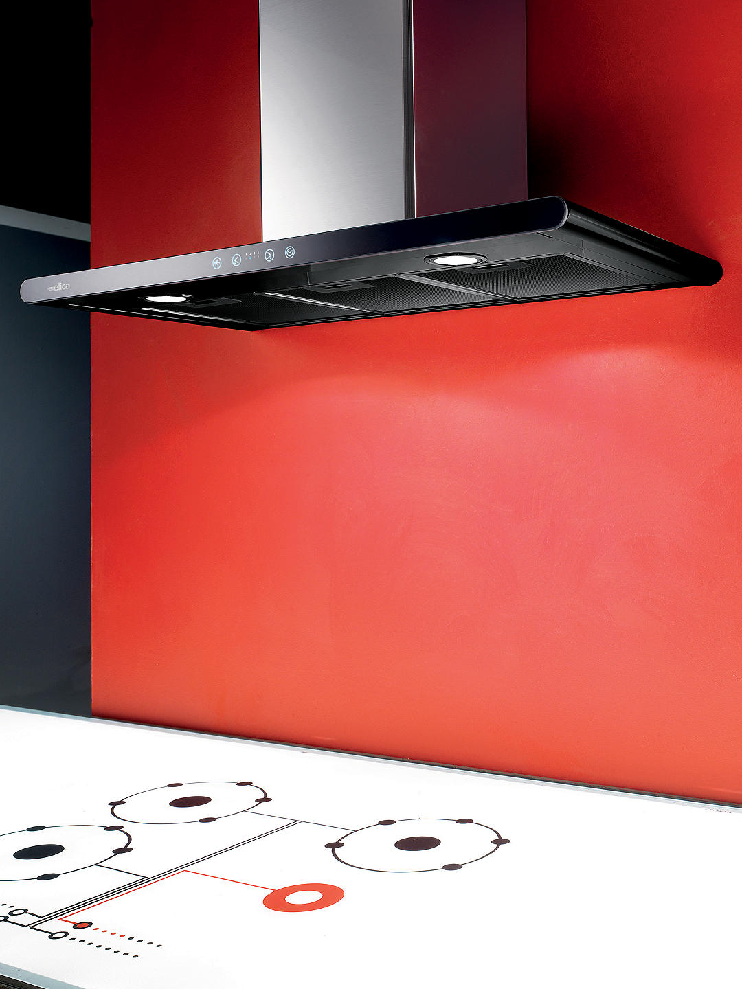 Buy Elica Galaxy LED Chimney Hood, Stainless Steel/Black Glass Online at johnlewis.com