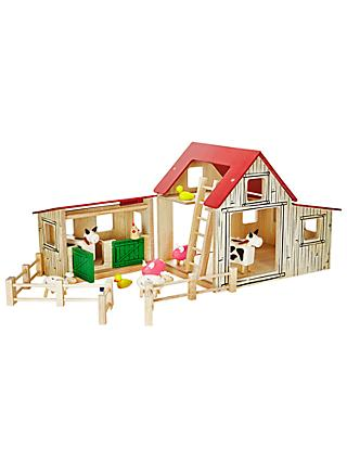 John Lewis & Partners Wooden Farmyard and Animals Set