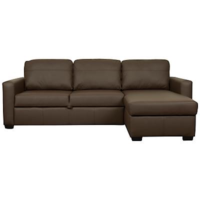 John Lewis Sacha Large Leather Sofa Bed with Foam Mattress, Madras Chocolate