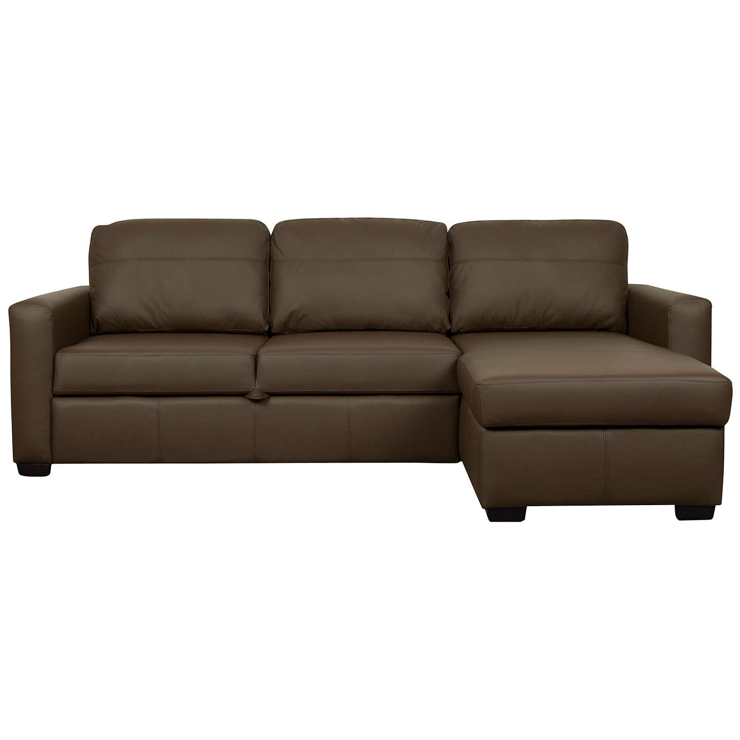 BuyJohn Lewis Sacha Large Leather Sofa Bed With Foam Mattress, Madras  Chocolate Online At Johnlewis ...