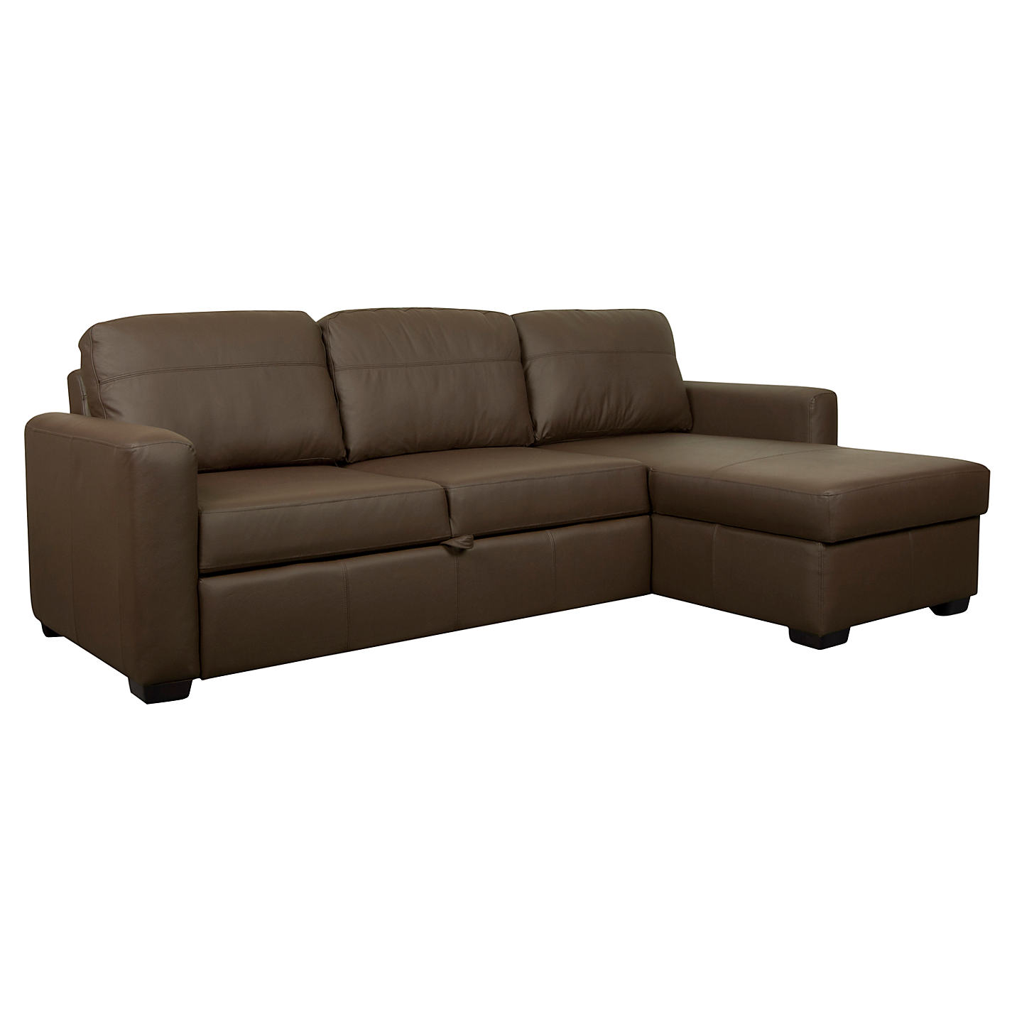... Buy John Lewis Sacha Large Leather Sofa Bed With Foam Mattress, Madras  Chocolate Online At ...