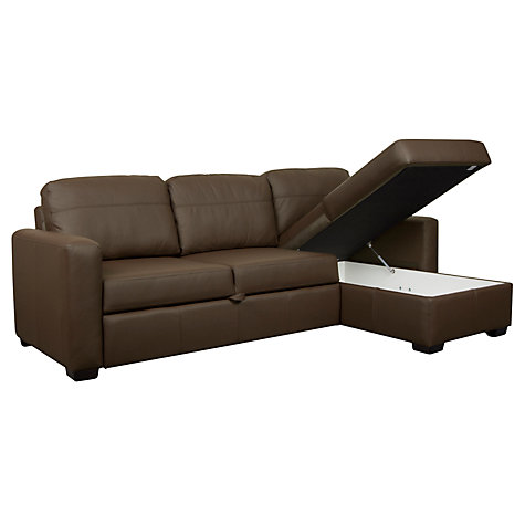 Buy John Lewis Sacha Leather Sofa Bed with Foam Mattress Madras Chocolate