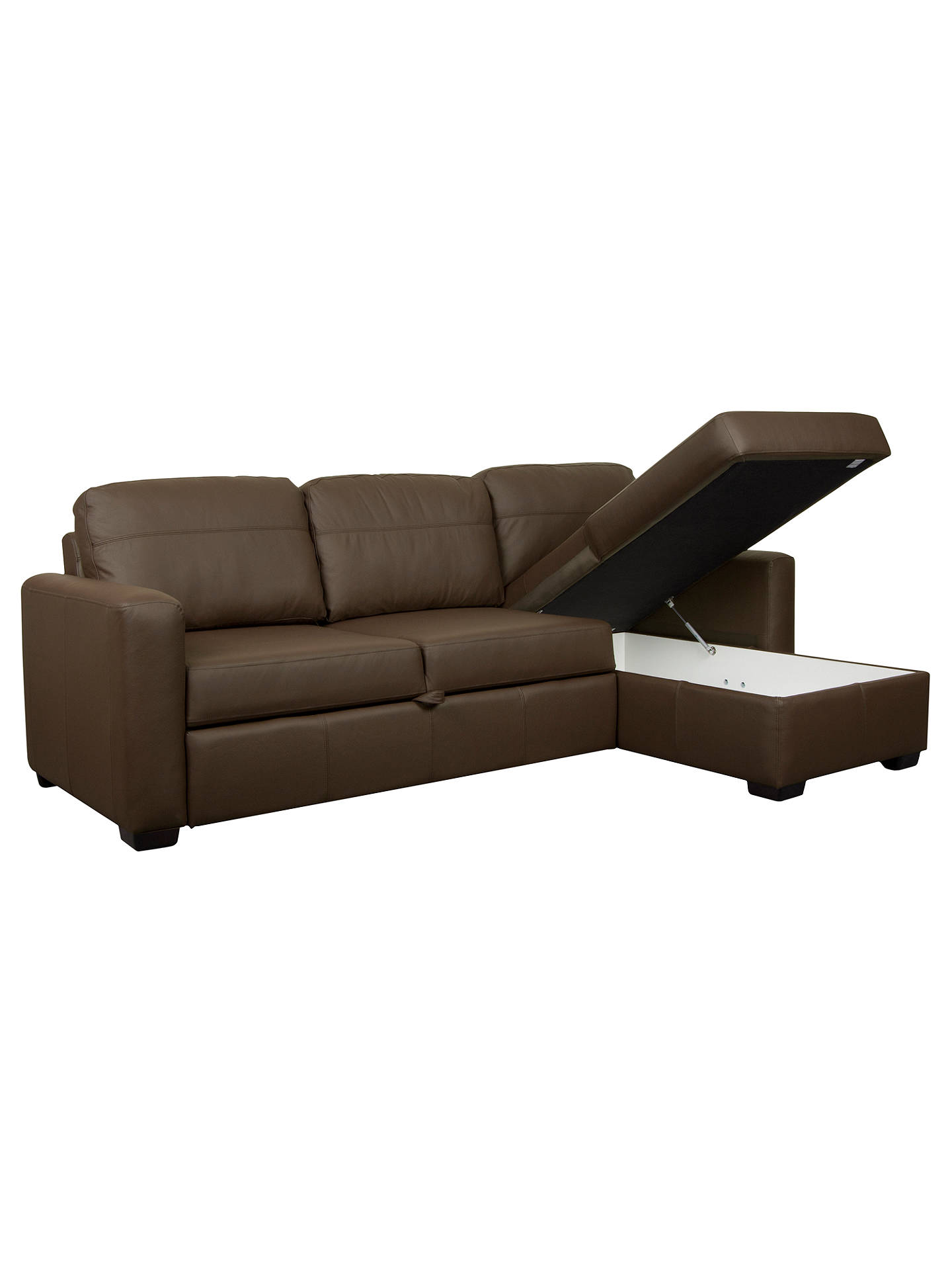 John Lewis Sacha Large Leather Sofa Bed With Foam Mattress Madras Chocolate Online At Johnlewis