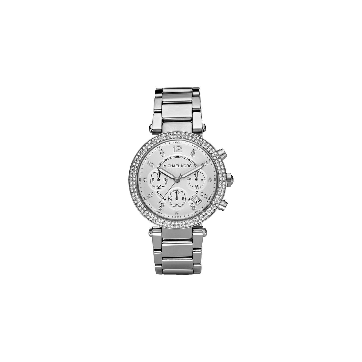 Michael Kors Mk5353 Women's Parker Chronograph Stainless Steel Bracelet Strap Watch, Silver by Michael Kors