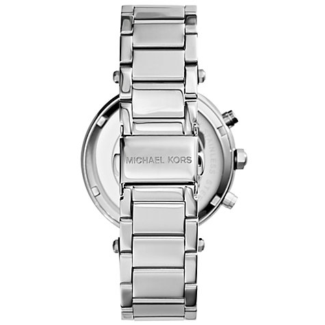 Buy Michael Kors MK5353 Women's Parker Chronograph Stainless Steel Bracelet Strap Watch, Silver Online at johnlewis.com