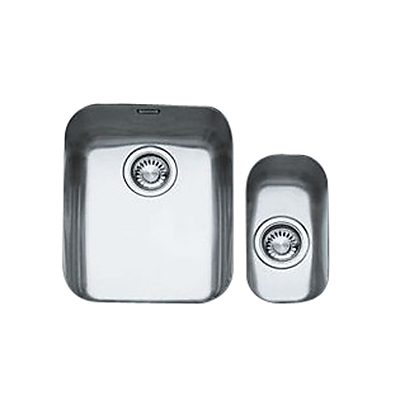 Product photo of Franke ariane arx160 1 5 kitchen sink and plumbing kit right hand small bowl brushed steel