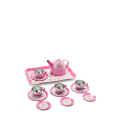 John Lewis & Partners Toy Rose Tin Tea Set