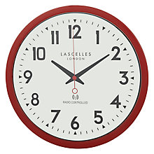 Buy Lascelles Radio Controlled Wall Clock, Red Online at johnlewis.com