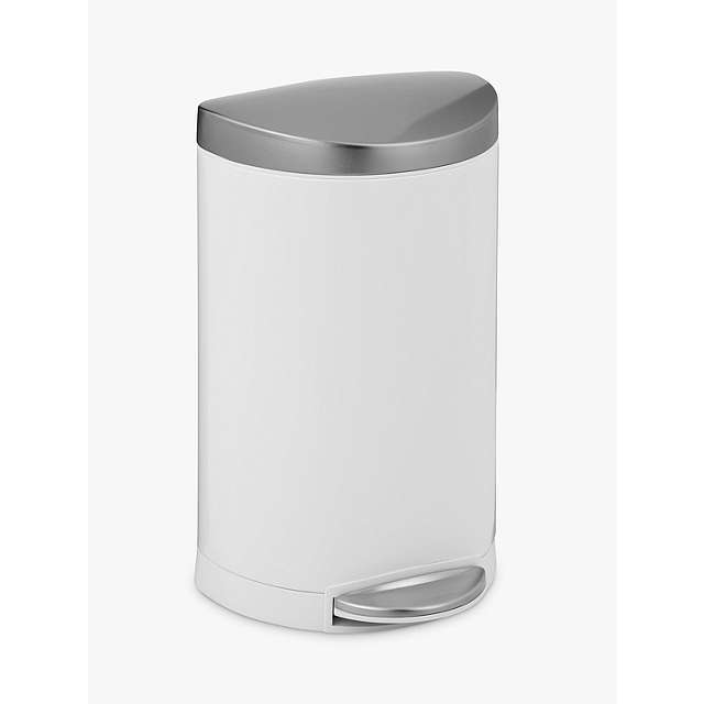 White Bathroom Bin simplehuman deluxe semi-round pedal bin, white, 10l at john lewis
