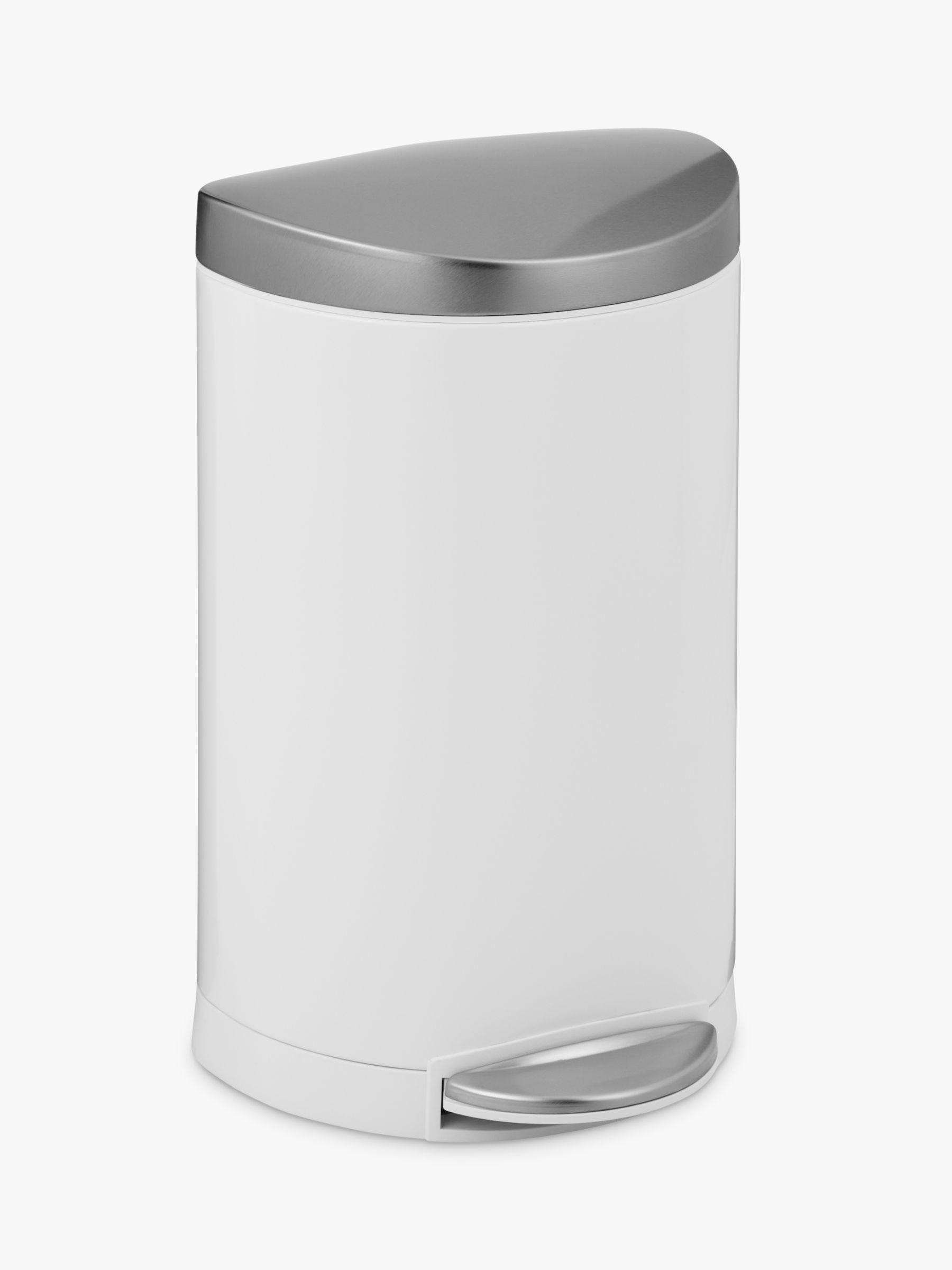 Simplehuman simplehuman Deluxe Semi-Round Pedal Bin, White, 10L