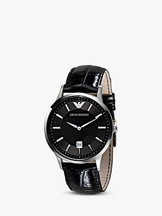 c0bce1f7515 Emporio Armani AR2411 Men s Date Leather Strap Watch