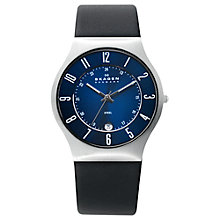 Buy Skagen 233XXLSLB Men's Leather Strap Watch, Black/Blue Online at johnlewis.com