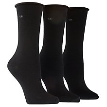 Buy Calvin Klein Roll Top Ankle Socks, Black, One Size Online at johnlewis.com