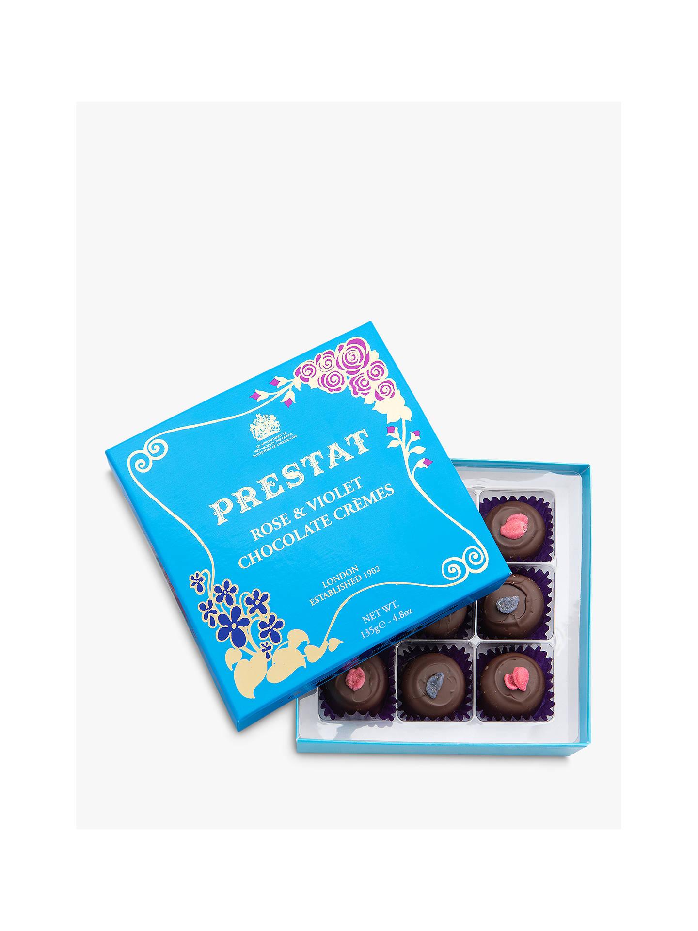 Prestat Dark Chocolate Rose & Violet Creams, 140g at John Lewis ...