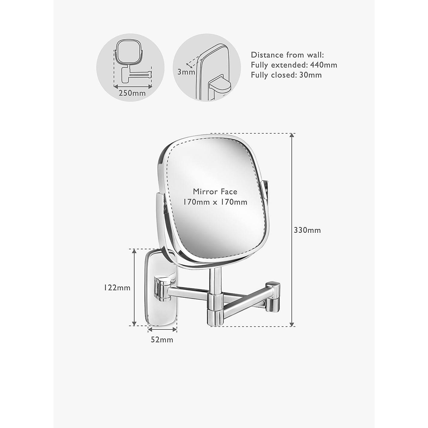 Buy Robert Welch Bathroom Burford Extendable Magnifying Wall Mirror Online At Johnlewis