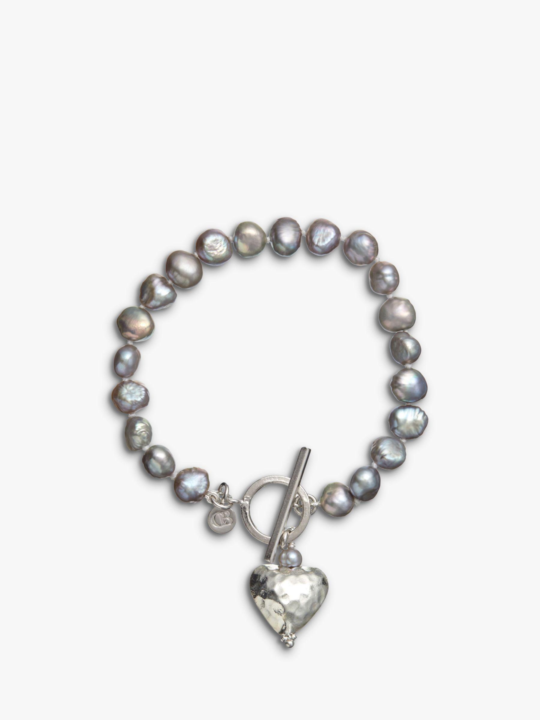 Claudia Bradby Claudia Bradby Battered Heart Pearl Bracelet, Purple