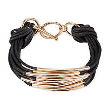 Buy John Lewis Multi Strand Tube Layered Bracelet, Black/Gold Online at johnlewis.com