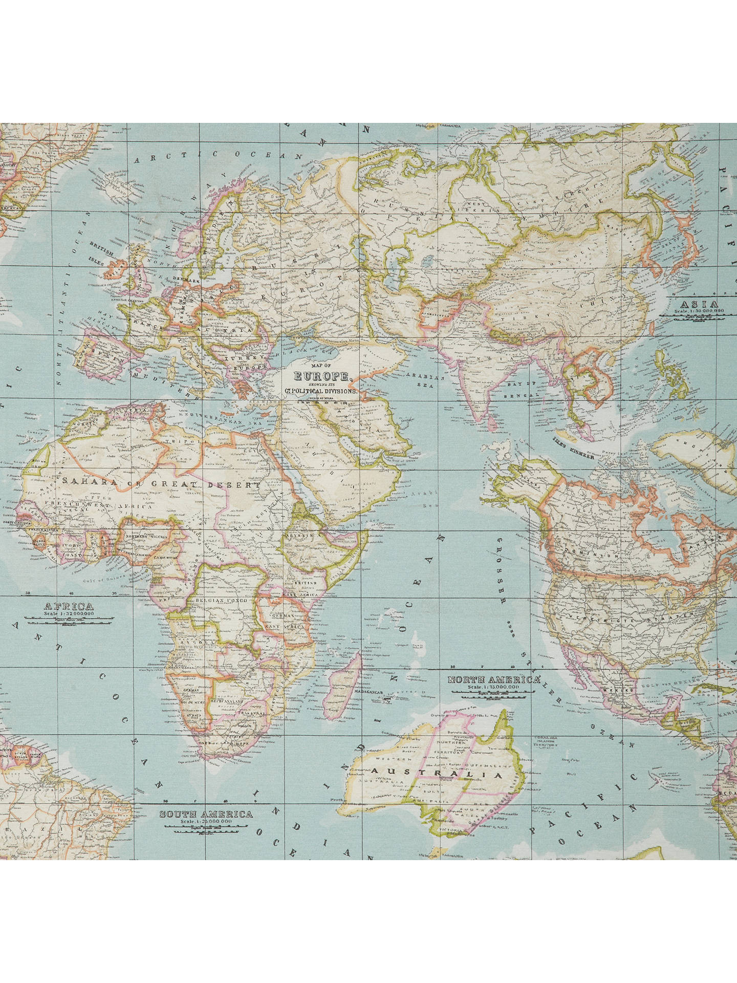 John Lewis & Partners World Map Teflon Coated Tablecloth Fabric at
