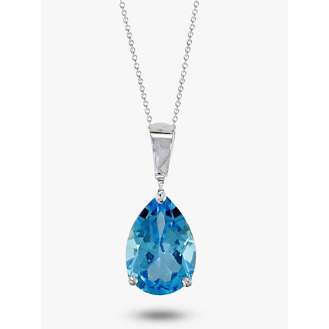 Buy ewa 9ct white gold chain and pear shaped topaz pendant buy ewa 9ct white gold chain and pear shaped topaz pendant necklace blue online at aloadofball Image collections