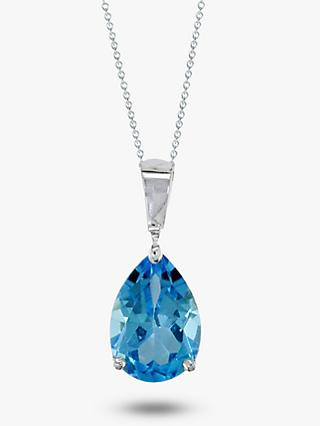 E.W Adams 9ct White Gold Chain and Pear Shaped Topaz Pendant Necklace, Blue