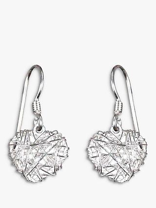 Nina B Heart Drop Hook Earrings, Silver