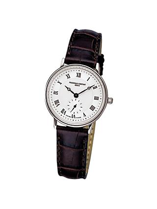 Frédérique Constant FC-235M1S6 Women's Slimline Leather Strap Watch, Brown/White