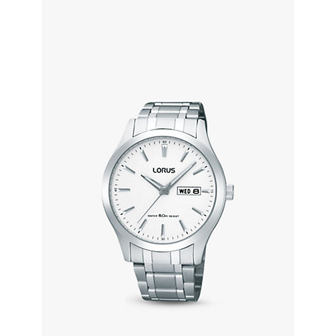 Buy Lorus RXN25DX9 Men's Day Date Bracelet Strap Watch, Silver/White Online at johnlewis.com