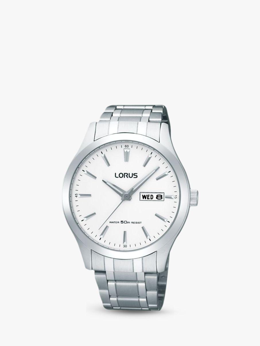 Lorus Lorus RXN25DX9 Men's Day Date Bracelet Strap Watch, Silver/White