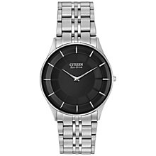 Buy Citizen AR3010-57E Men's Stiletto Ultra-Slim Eco-Drive Bracelet Strap Watch, Silver/Black Online at johnlewis.com
